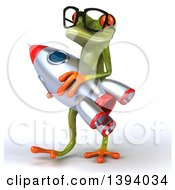 Clipart Of A 3d Green Springer Frog Carrying A Rocket On A White Background Royalty Free Illustration