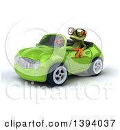 Clipart Of A 3d Green Springer Frog Driving A Convertible Car On A White Background Royalty Free Illustration