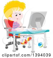 Clipart Of A Cartoon Blond White Boy Using A Desktop Computer Royalty Free Vector Illustration by Alex Bannykh