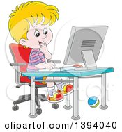 Clipart Of A Cartoon Blond Caucasian Boy Using A Desktop Computer Royalty Free Vector Illustration by Alex Bannykh