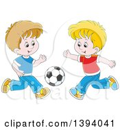 Clipart Of Cartoon White Boys Playing Soccer Royalty Free Vector Illustration by Alex Bannykh