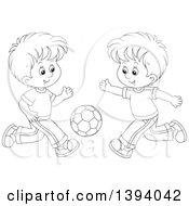 Clipart Of Cartoon Black And White Lineart Boys Playing Soccer Royalty Free Vector Illustration by Alex Bannykh