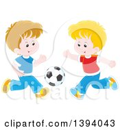 Clipart Of Cartoon Caucasian Boys Playing Soccer Royalty Free Vector Illustration by Alex Bannykh