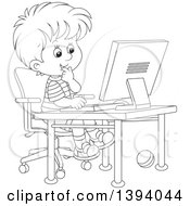 Clipart Of A Cartoon Black And White Lineart Boy Using A Desktop Computer Royalty Free Vector Illustration by Alex Bannykh