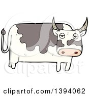 Clipart Of A Cartoon Cow Bull Royalty Free Vector Illustration