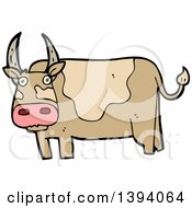 Clipart Of A Cartoon Cow Bull Royalty Free Vector Illustration by lineartestpilot