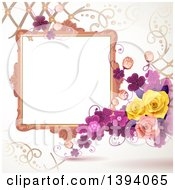 Blank Ornate Picture Frame With Text Space Purple Clovers And Roses