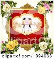 Clipart Of A Pair Of Love Birds In Hearts Over Valentines Day Text In A Frame On Off White With Roses Royalty Free Vector Illustration by merlinul