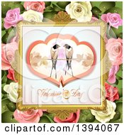 Clipart Of A Pair Of Love Birds In Hearts Over Valentines Day Text In A Frame On Pink And White Roses And Leaves Royalty Free Vector Illustration by merlinul
