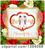 Pair Of Love Birds In Hearts Over Valentines Day Text In A Frame On Red And White Roses And Leaves