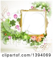 Clipart Of A Blank Ornate Picture Frame With Text Space Clovers And Roses Royalty Free Vector Illustration by merlinul