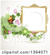 Blank Ornate Picture Frame With A Butterfly And Clovers