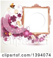 Blank Ornate Picture Frame With Text Space A Butterfly And Purple Clovers