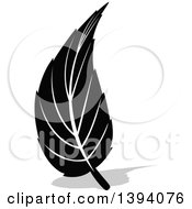 Clipart Of A Black And White Leaf And Gray Shadow Design Royalty Free Vector Illustration