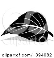 Clipart Of A Black And White Leaf And Gray Shadow Design Royalty Free Vector Illustration by dero