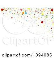 Clipart Of A Colorful Confetti Background With Text Space On White Royalty Free Vector Illustration