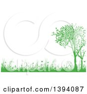 Clipart Of A Nature Background Of Green Silhouetted Trees Weeds Grass And Butterflies With Text Space Royalty Free Vector Illustration by dero