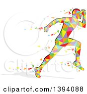 Clipart Of A Colorful Abstract Getometric Man Running Royalty Free Vector Illustration