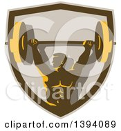 Clipart Of A Retro Male Bodybuilder Holding A Heavy Barbell Over His Head In A Shield Royalty Free Vector Illustration