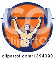 Clipart Of A Retro Male Bodybuilder Holding A Heavy Barbell Over His Head Inside A Blue And Orange Circle Royalty Free Vector Illustration