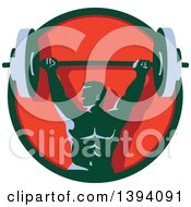 Clipart Of A Retro Male Bodybuilder Holding A Heavy Barbell Over His Head In A Green And Red Circle Royalty Free Vector Illustration
