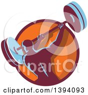 Clipart Of A Retro Male Bodybuilder Swinging A Barbell In A Purple And Orange Circle Royalty Free Vector Illustration by patrimonio