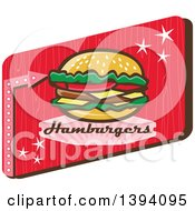 Clipart Of A Retro 1950s Cheeseburger And Text In A Red Rectangle Royalty Free Vector Illustration