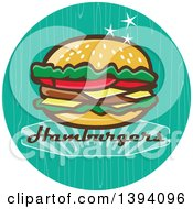 Clipart Of A Retro 1950s Cheeseburger And Text In A Turquoise Circle Royalty Free Vector Illustration