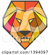 Clipart Of A Retro Geometric Low Polygon Male Lion Head Royalty Free Vector Illustration