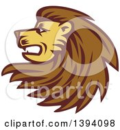 Clipart Of A Retro Woodcut Male Lion Head With A Long Mane Royalty Free Vector Illustration