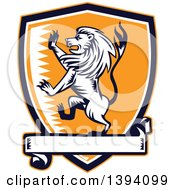 Clipart Of A Retro Woodcut Rampant Lion In A Black White And Orange Shield With A Banner Royalty Free Vector Illustration