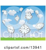 Warped Pocket Watches Falling From The Sky Clipart Illustration