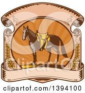Clipart Of A Retro Woodcut Horse With A Western Saddle In A Sunset Scroll Royalty Free Vector Illustration