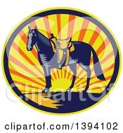 Clipart Of A Retro Woodcut Horse With A Western Saddle In A Sunset Oval Royalty Free Vector Illustration