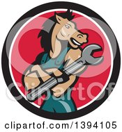 Clipart Of A Cartoon Horse Man Mechanic With Folded Arms Holding A Spanner Wrench In A Black White And Red Circle Royalty Free Vector Illustration