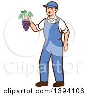 Clipart Of A Retro Caucasian Farmer Boy Holding Purple Grapes Royalty Free Vector Illustration