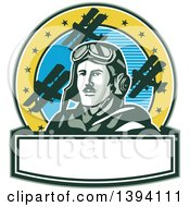 Clipart Of A Retro World War One Male Pilot Aviator Looking Up Over A Banner On A Cricle With Blue Sky Stars And Biplanes Royalty Free Vector Illustration