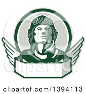 Clipart Of A Retro World War One Male Pilot Aviator Looking Up Over A Wing Banner Royalty Free Vector Illustration by patrimonio