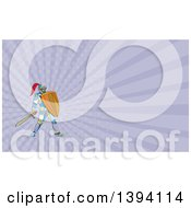 Clipart Of A Colorful Mosaic Knight Holding A Sword And Shield And Purple Rays Background Or Business Card Design Royalty Free Illustration