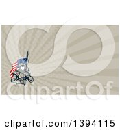 Knight In Metal Armour Carrying An American Flag And Taupe Rays Background Or Business Card Design