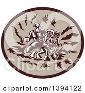 Clipart Of A Retro Woodcut Samoan Tiitii Wrestling The God Of Earthquake And Breaking His Arm In A Brown Oval Royalty Free Vector Illustration