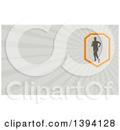 Clipart Of A Retro Male Triathlete Or Marathon Runner And Gray Rays Background Or Business Card Design Royalty Free Illustration