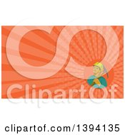 Clipart Of A Retro Watercolor Styled Coal Miner With A Pick Axe Over His Shoulder And Orange Rays Background Or Business Card Design Royalty Free Illustration