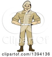 Clipart Of A Cartoon Male Service Ranger Standing In Full Attention Royalty Free Vector Illustration