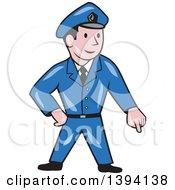 Clipart Of A Cartoon Police Man Pointing Down Royalty Free Vector Illustration