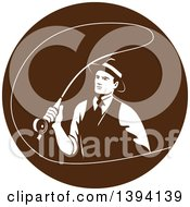 Clipart Of A Retro Mobster Gangster Guy Fly Fishing In A Brown Circle Royalty Free Vector Illustration