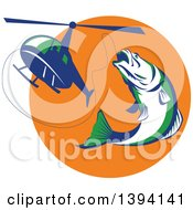 Clipart Of A Retro White Green And Blue Barramundi Asian Sea Bass Fish Jumping And Swallowing A Fishing Line Attached To A Helicopter Royalty Free Vector Illustration