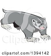 Clipart Of A Cartoon Vicious Honey Badger Mascot Royalty Free Vector Illustration