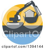 Retro Mechanical Digger Machine Moving A House In A Yellow Gray And Blue Circle
