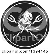 Clipart Of A Dorado Dolphin Fish Skeleton And Crossed Spears In A Black And White Circle Royalty Free Vector Illustration